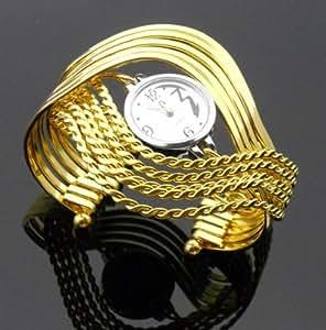 2015 nouveau bracelet de luxe des femmes de mode montres en or Montre demi-onde -(or)