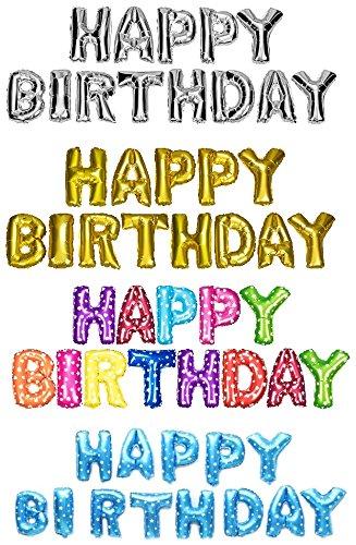DekoRex® Happy Birthday Ballons Folienballons Buchstabenballons Luftballons Geburtstag ca. 40cm hoch in Silber