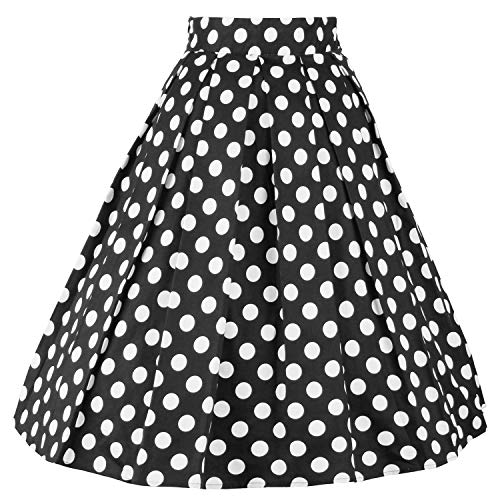 DresseverBrand Damen Rockabilly Rock A Linie Retro Rock Midi Swing Röcke Dots Small
