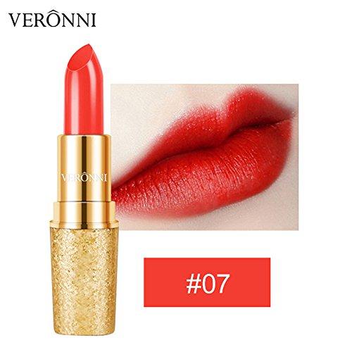 Lipgloss,Rabatt,PorLous 2019 Beliebt VERONNI Lippenstift Wasserdichte Langlebige Golden Matte Lip Cosmetic Beauty Make Feuchtigkeitsspendend 7