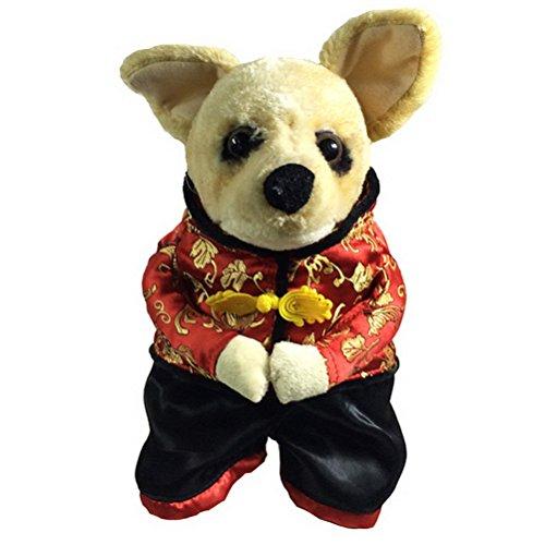 zunea Chinese New Year Hund Kostüm mit Hat Pet Coat Jacket Fleece Jacke gefüttert Winter Warm Outfits Apparel, für kleine Welpen Hund Katze