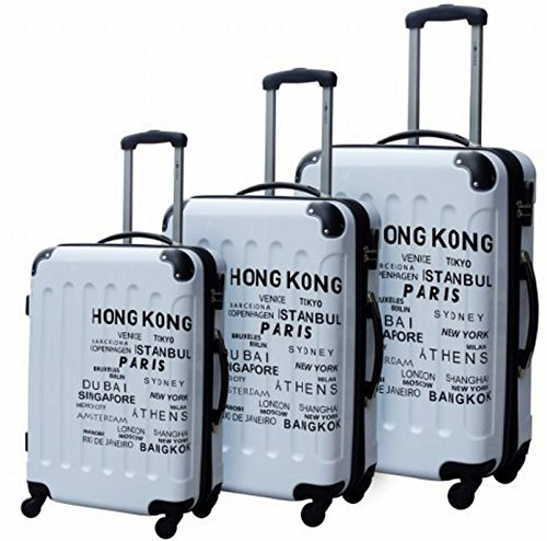 Lifetime Travel Cities Set de Bagages, 66 cm, 120 L, Blanc