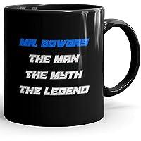 Mr. Bowers Coffee Mug Tazas Negras Personalizadas con Nombres - The Man the Myth the Legend - Best Gifts Regalos for Men - 11 oz Black mug - Blue