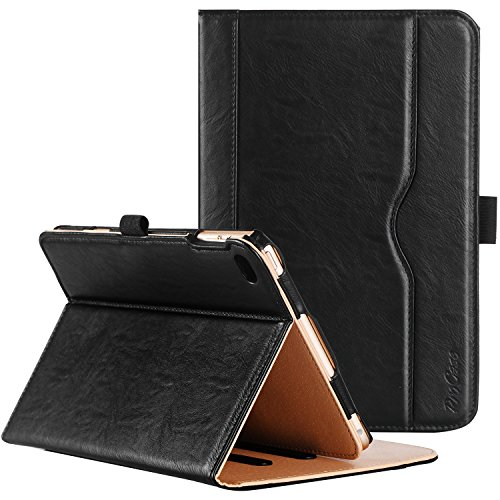 ProCase iPad Mini 4 Hülle - Leder Tribüne Folio Hülle Deckel für 2015 Apple iPad Mini 4 (4. Generation iPad Mini, Mini4), mit Mehreren Blickwinkel, Auto Sleep/Wake, Dokumentenkarte Tasche (Schwarz)