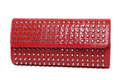 Heftklammerbeutel, Schulterbeutel, modischer Abendbeutel, Niethandbeutel, Art und Weisehandtaschen, Handbeutel ( Farbe : Gold ) Rot