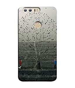 FUSON Designer Back Case Cover for Huawei Honor 8 (Tree Cartoon Birds Fly On Tree Crazy Love Couple)