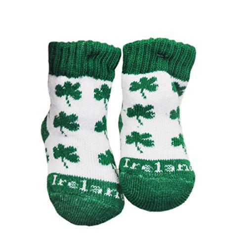 White Newborn Bootie Socks With Green Shamrock Print