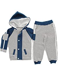 Contrast Stripe Arm Patch Toddlers Babies Fleece Tracksuit Girls Size