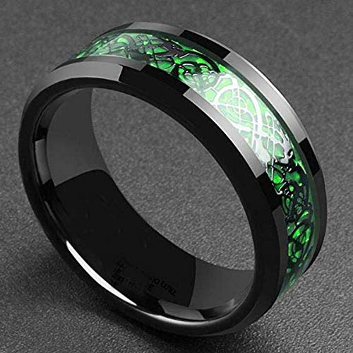 CJF123Domineering Man Ring Red Green Carbon Fiber Black Dragon Inlay Comfort Fit Stainless Steel Rings for Men Wedding Band Ring, 7,Green