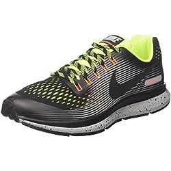 Nike Zoom Pegasus 34 Shield (GS), Zapatillas de Running para Niños, Negro Black/Volt/Wolf Grey, 38 EU