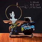 Statue Fontana da Tavolo,Fontana in Ceramica Bruciatore di incenso di riflusso Forno a Legna di Sandalo Decorazione Desktop Zen Home Decoration Artigianato Regali d'Affari-C 15.7pollice