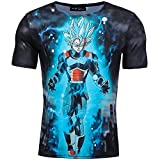 GOTH Perhk Herren 3D Cartoon Anime T-Shirt Top Goku Dragon Ball Vegeta Turtle Roshi DB Kurzarm-Shirt Stil04 M