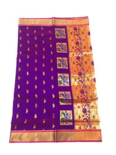 Hariom wholesale depo Silk Saree With Blouse Piece (Pshprani_Purple With Rani Blouse_Free...