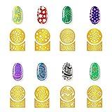 72 Disegni Unghie in Vinili d'Oro Set d'Unghie Stencil Adesivi Fogli per Circolare Concavo Nail Art Design, 24 Fogli, 288 Pezzi