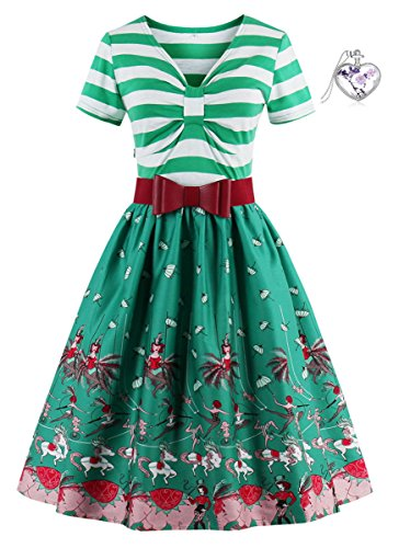 Lacus-DE Die 1950 Stil Kurze Ärmel V-Ausschnitt Streifen Retro-Kleider (4XL, (Kostüme Party College Bilder)