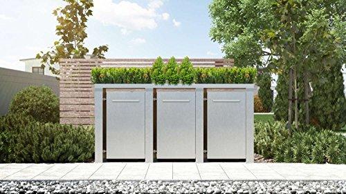 Mülltonnenbox Pflanzdach Plandesign Edelstahl 120 Liter 3 Mülltonnen