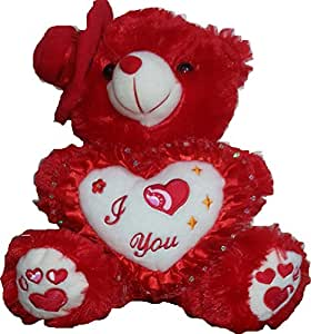 CHIKU TEDDY BEAR 18 inch [1.5 feet] --- holding I Love You Pillow --- teddy bear soft toy with side cap -- super cute valentine gift --- DINKy official (RED)