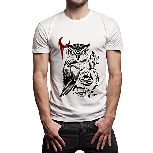 Illuminati Triangle Art Majestic Owl Moon Red Background Herren T-Shirt Weiß