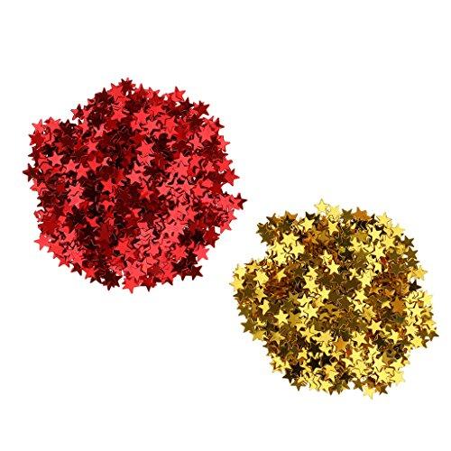 Baoblaze Kunststoff Konfetti Stern Tissue Konfetti Party Star PVC Tabelle Konfetti, Rot + Gold