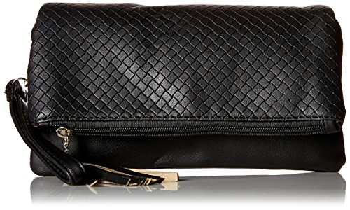 bmc-womens-midnight-black-textured-pu-faux-leather-quilted-pattern-triple-compartment-zipper-tassel-