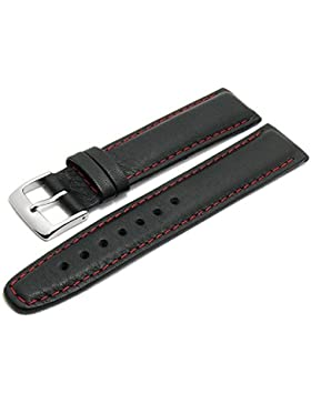 Meyhofer Uhrenarmband Wittenberg Special 21mm schwarz Leder genarbt rote Naht MyKuslbK1431B/21mm/schwarz/roN