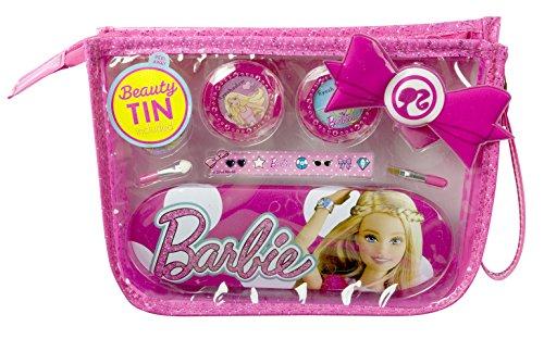 Barbie Geschenk-Set für Mädchen (Make-Up-Set, Haarspange, Metallbox mit Barbie-Print, stylische Kosmetik-Tasche) für Mädchen