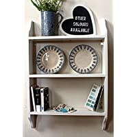 White wall shelf, three tier, solid wood, 6 sizes available