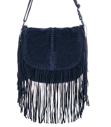 BACCINI sac porté à l'épaule SARAH - petit - Sac bandoulière avec frange - sac pour dames bleu en cuir véritable
