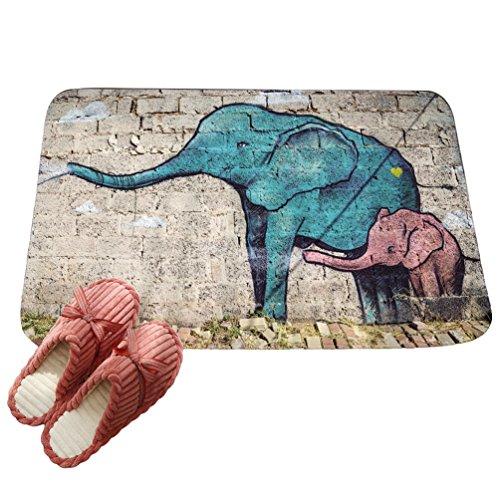 LvRaoo Fußmatte Willkommen für Haustür Innen und Aussen Fussmatten Rutschfest Schmutzfangmatte Fußabtreter Fussabstreifer - Mandala Elefant Drucke (# 5, 60 * 40cm)