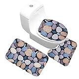 AMDXD Flanell Teppich Toilettenmatte Set Kieselsteine Design Teppiche für Schlafzimmer Wohnzimmer Bunt 50x80CM