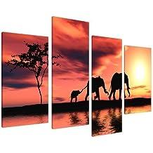 Cuadros en Lienzo Grande Puesta de Sol África Elefantes Imágenes XL 4102