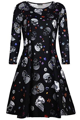 Oops Outlet Damen Schädel Schmuck unheimlich Pumpkin Halloween Kostüm Kittel Swing Kleid - Schmuck Skelleton schwarz, Plus Size (UK (Uk Kostüme Plus Size)