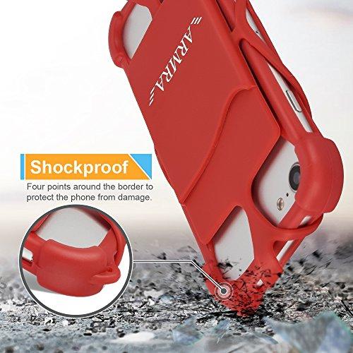 Telefono Cordoncino Universale 4  a 6  Silicone Caso con Collo Cinghia per iPhone 7/7 Plus/6/6 Plus/5/Samsung Note 4/5/LG/HTC/Huawei by ARMRA (Nero) Rosso