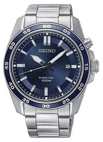 ska783p1Herren Seiko Kinetic Armbanduhr mit Edelstahl Armband und Datum Display