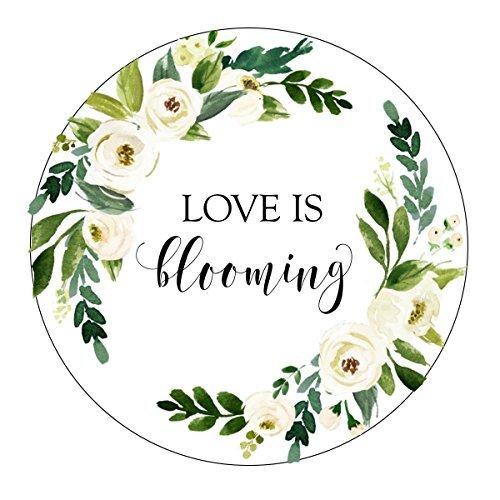 Love Is Blooming Aufkleber, weiß und grün Blumen, Aquarell, Let Love Grow Favor Aufkleber, Etiketten, Samen, Gastgeschenken Love Grow, Favor Aufkleber, Favor Tags, Garten Hochzeit Favor Aufkleber