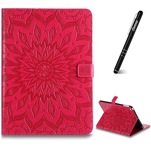 iPad Air 2 Hülle,Slynmax Sonnenblume Flip Wallet Lederhülle PU Leder Hohe Tasche Case Cover Wallet Slim Cover Schutzhülle Bumper Lederhülle mit Tablette Stand Tablette für iPad Air 2 Modell,Rose Rot