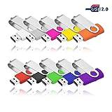 8 GO Clé USB 2.0 VIEKUU Lot de 10 Pièces Pour Ordinateur, Télévision, Automobile, etc (Noir Gris Blanche Jaune Orange Rose Rouge Vert Violet Bleu)
