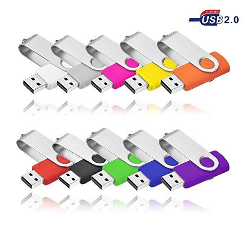 4 GO Clef USB 2.0 VIEKUU Lot de 10 Pièces Pour Ordinateur, Télévision, Automobile (Noir Gris Blanche Jaune Orange Rose Rouge Vert Violet Bleu)