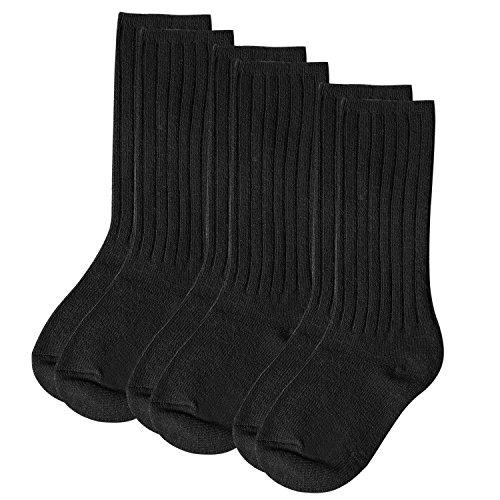Aibrou Socken Kinder Wolle Winter Warm Kindersocken Strümpfe Knie Hoch mit Komfortbund Unisex 3er Pack Schwarz