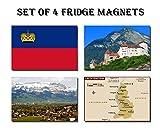 SET OF 4 LIECHTENSTEIN AIMANTS POUR LE FRIGO – LIECHTENSTEIN FLAG LIECHTENSTEIN MAP LIECHTENSTEIN ATTRACTIONS