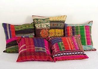 Garvanshi Fabrics Silk Saree Embroidered Work Block Kantha Cushion Covers (Multicolour, 16x16-inch) - Set of 5