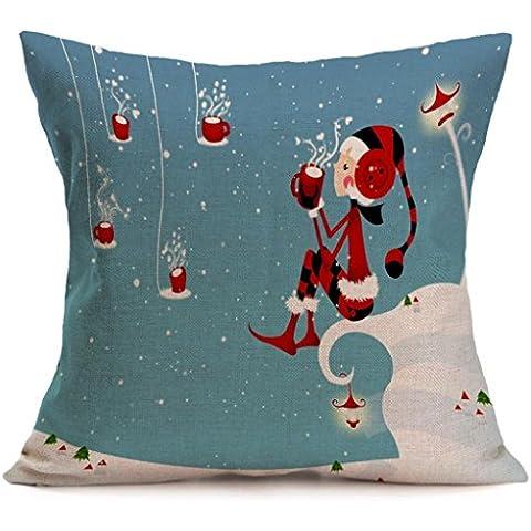 Koly Cubierta del amortiguador del diseño retro Navidad dibujos animados muñeco de nieve pingüino sofá funda de almohada (K)