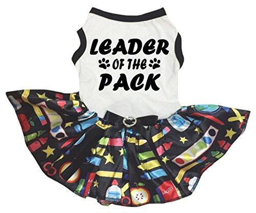 petitebelle Puppy Kleidung Hund Kleid Leader der Pack weiß TOP Stationery Tutu