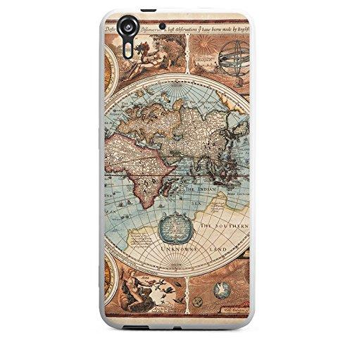 HTC Desire Eye Silikon Hülle Case Schutzhülle Vintage Weltkarte Karte Map