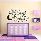 We Love You to The Moon and Back Lettering Wall l Cuarto de niños Decoración de Dormitorio para bebés Luna y Estrellas Pared de Vinilo 57x33cm