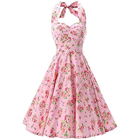 SaiDeng Mujer Vendimia Floral Impresión Casual Cóctel Fiesta Vestido