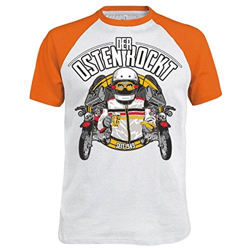 Männer und Herren T-Shirt Der Osten rockt Orange/Weiß