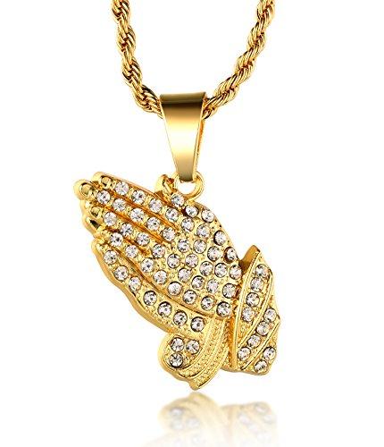 """Halukakah ● Gebet ● Männlich In 18 Karat Vergoldetete umhüllende Hände hängende Halskette mit Kostenloser Seil-Kette 30\"""""""