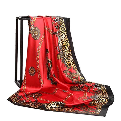 QYYDWJ Srping Red Rose Print Seidenschal Frauen Vintage Quadratische Kopftücher New China Fashion Satin Schal Wraps Schals 90 cm * 90 cm 90 X 90 cm 04 rot Fashion Satin