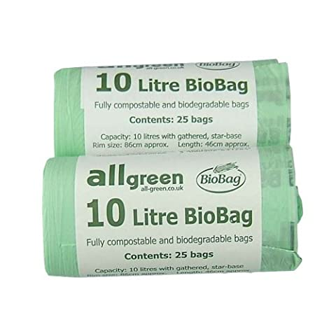 All-Green 10 Litre Biobag Compostable Kitchen Caddy Bin Liners, 50 Bags